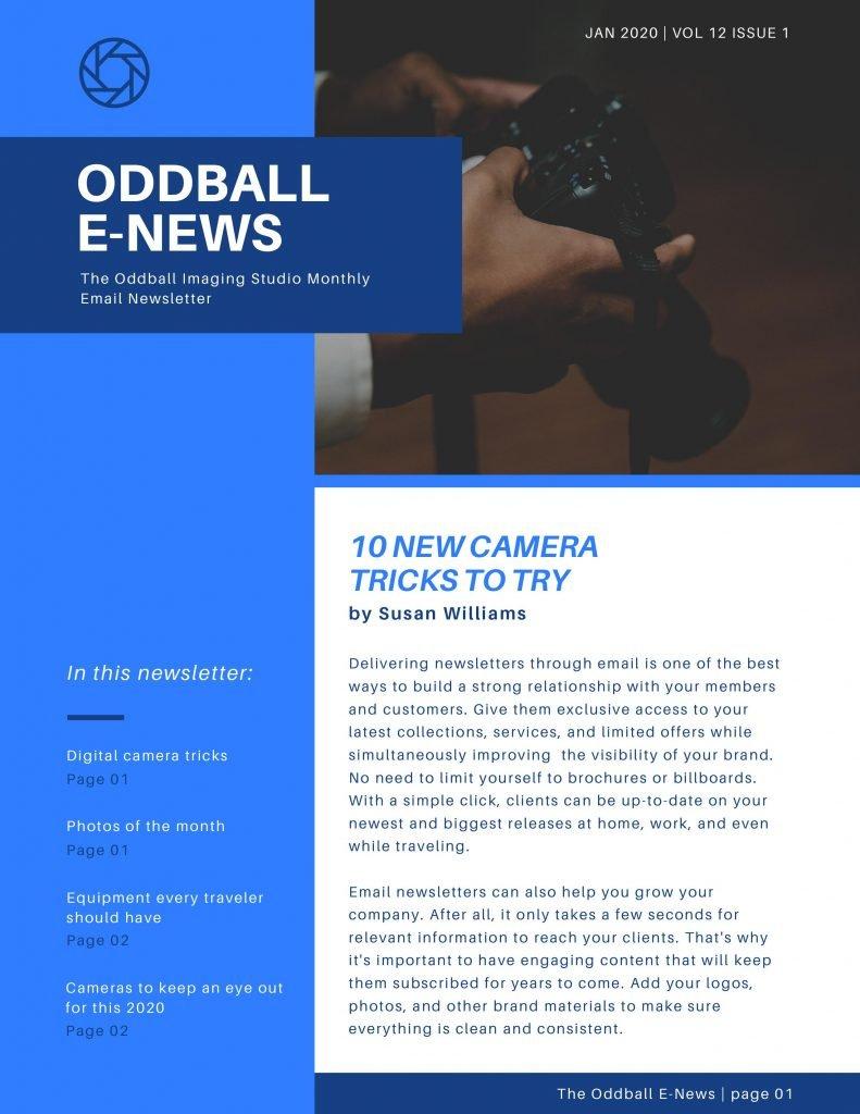 Canva Oddball E-News newsletter theme